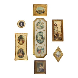 Florentine Gilt Wood Wall Art Collection, Set of 7 For Sale