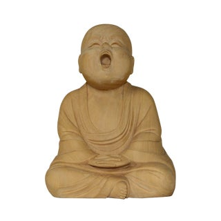 Artist Crafter Light Wood Color Meditate Monk Statue Practicing Chanting Meditation For Sale