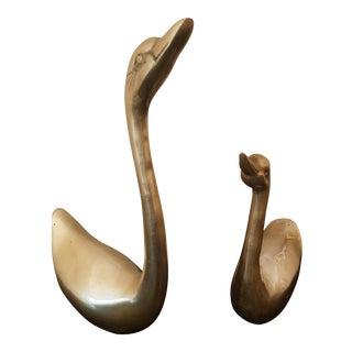Mid-Century Brass Swan Figurines - a Pair