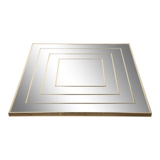 Op Art Square Brass Framed Mirror For Sale