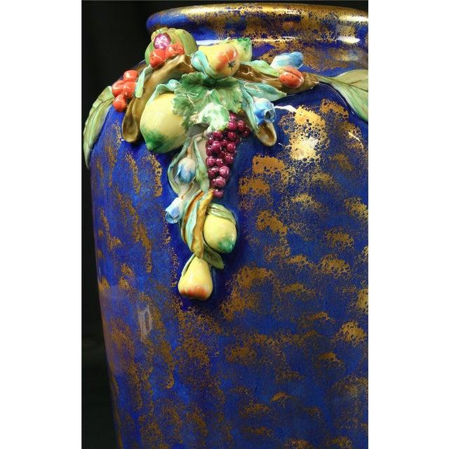 Italian Majolica Blue Ceramic Umbrella Stand Vase - Image 7 of 9
