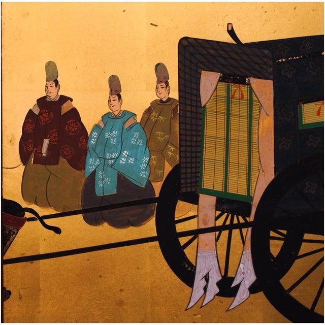 "Shōwa Era ""The Tale of Genji"" Gold-Leaf Japanese Byobu Screen For Sale - Image 9 of 13"