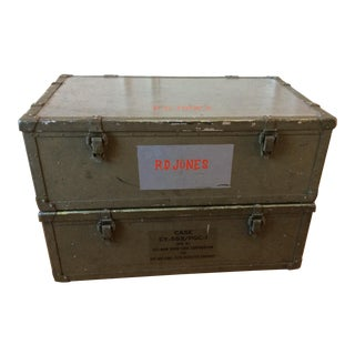 Vintage Military Trunks - A Pair