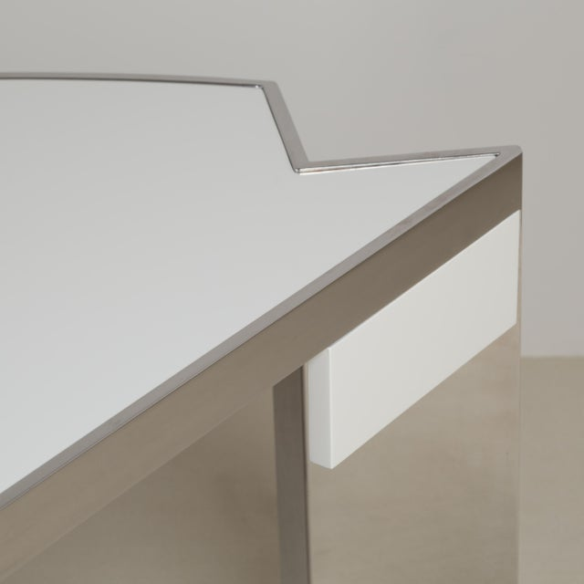 A Pace Designed Chromium Steel and Ivory Lacquer Desk, 1970s For Sale - Image 6 of 10