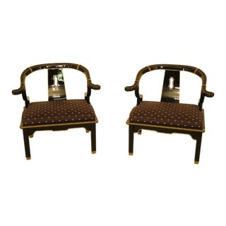 1980s Vintage Chinese Inspired Black Lacquered Occasional Chairs - A Pair For Sale