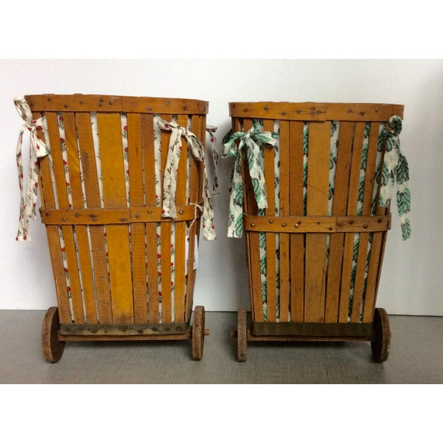 Antique 1920s Wood Baskets on Wheels - Image 3 of 9