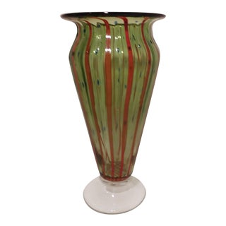 1970's Vintage End of the Day Green Striped Vase