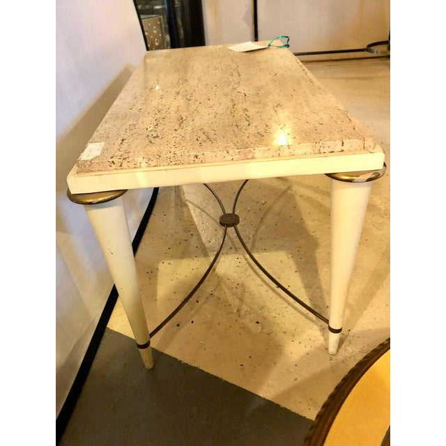 Brass Mid-Century Modern Coffee Table Inset Travertine Marble-Top and Brass Stretcher For Sale - Image 7 of 11