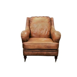 George Smith Style Leather Club Chair by Bradington Young For Sale