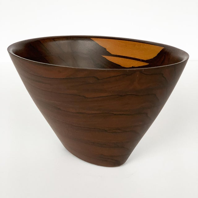 Brown Peter Petrochko Carved Padauk and Ziricote Wood Bowl For Sale - Image 8 of 13