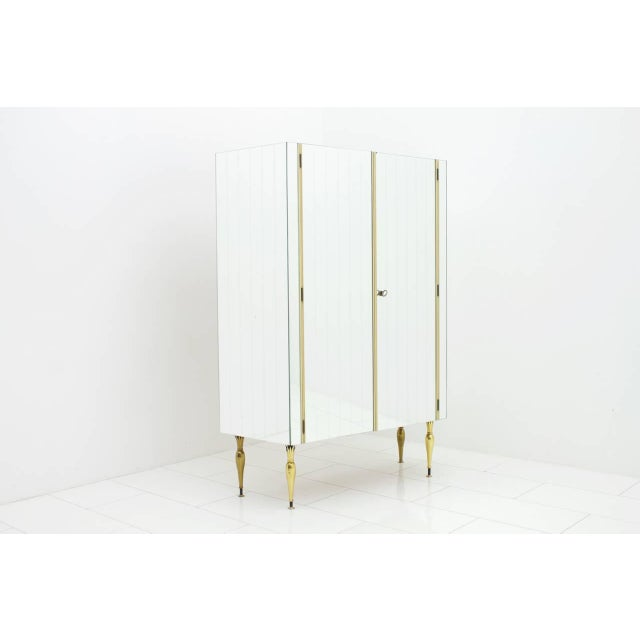 Mid-Century Modern Fully Front Mirrored Asymmetric Wardrobe With Brass Legs, Germany 1960s For Sale - Image 3 of 8