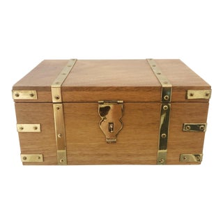 Vintage Campaign Style Wood and Brass Jewelry Box For Sale