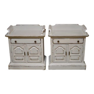 Ethan Allen Cottage Style Distressed Nightstands - A Pair