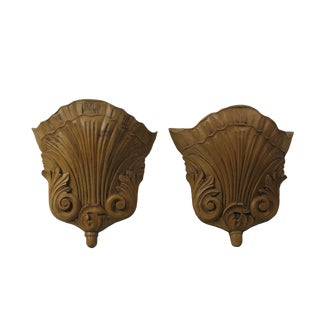 1940s Vintage Acanthus Leaf & Shell Carved Wooden Wall Pockets- a Pair For Sale
