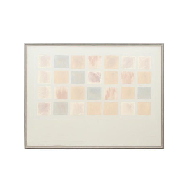 Decorative Brushed Pastel Squares Painting Signed Pepin For Sale
