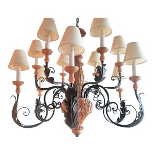 Arte De Mexico Hand Carved Wood and Iron Chandelier For Sale