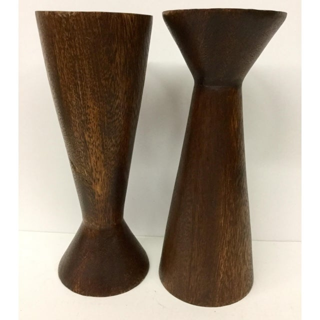 1950s Boho Chic Solid Wood Candle Holders - a Pair For Sale - Image 12 of 13