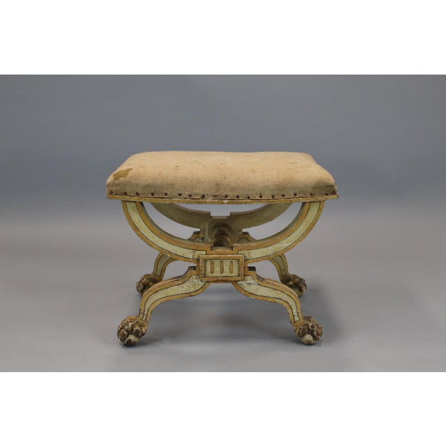 French Painted & Gilded Wood Stool With X Form Base For Sale - Image 5 of 6