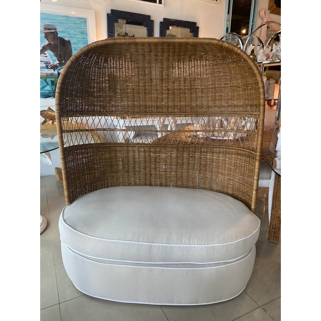Hollywood Regency Vintage Wicker and Rattan Newly Upholstered Dome Hooded Loveseat Settee Chair For Sale - Image 3 of 13
