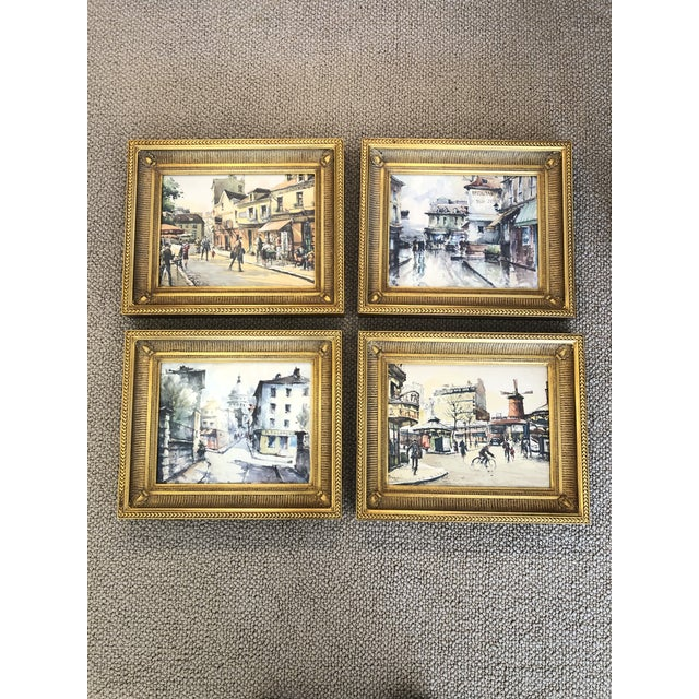 Scenes of Paris in Giltwood Frames -Set of 4 For Sale - Image 9 of 9