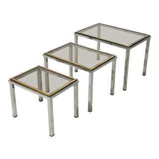 French Stacking or Nesting Tables of Chrome and Brass - 3 Pieces For Sale