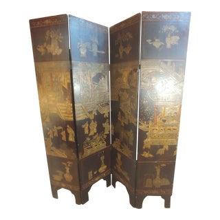 Late 19th Century Four Panel Coromandel Screen For Sale