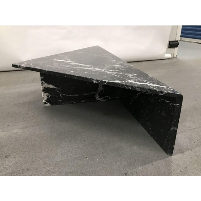 1970s Black Marble Triangular Coffee Table For Sale - Image 4 of 13