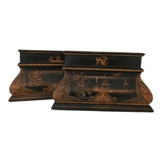 Vintage Chinoiserie Lacquered Textured Hand Painted Bookends - A Pair For Sale