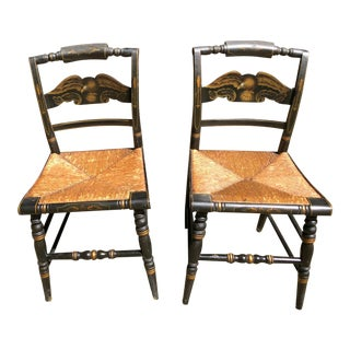 1940s Hitchcock Gold Eagle Federal Black Dining Chairs W/Pillow Rails & Rush Seats Signed - a Pair For Sale