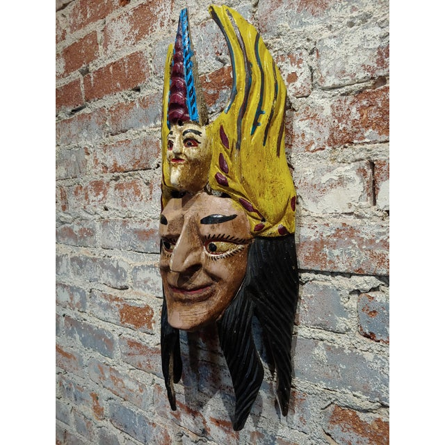 Mexican Mask -Antique Painted Wood Carved For Sale - Image 9 of 9