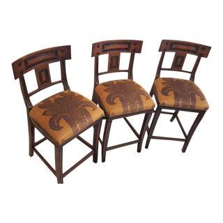 Set of Three Michael Taylor Walnut Bar Stools For Sale