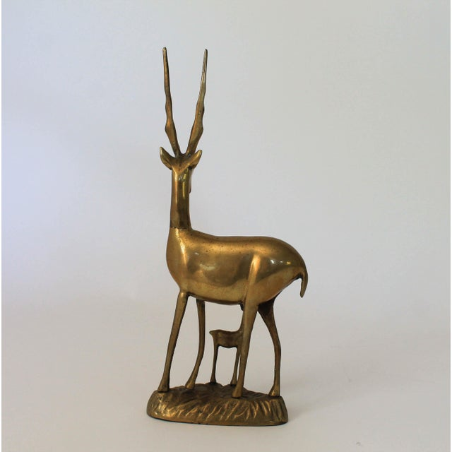 Brass Antelope and Baby Fawn Figurine For Sale In Milwaukee - Image 6 of 6
