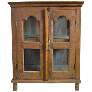 Late 18th Century Painted Wood Hanging Shelf With Glass Doors For Sale