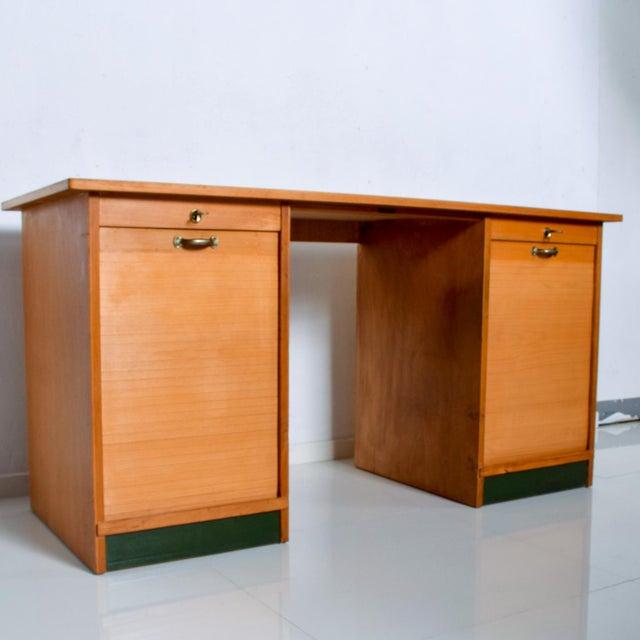 Bauhaus Adolf Maier Blonde Bauhaus Desk Locking Tambour Doors, Germany For Sale - Image 3 of 9