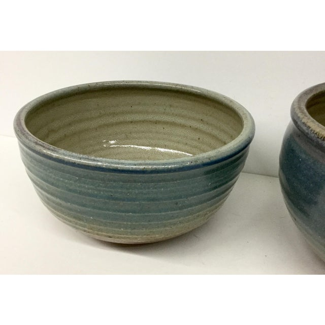 Art Nouveau Vintage Hand Thrown Clay Bowls - A Pair For Sale - Image 3 of 13