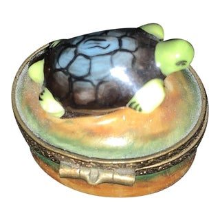 Early 20th Century Limoges, France Turtle Box For Sale