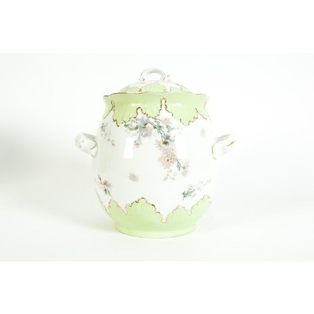 Early 20th century large Austrian porcelain covered piece / dish with side handles . The piece is in great vintage...