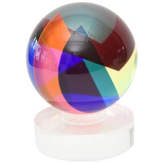 Signed and Dated Vasa Mihich Laminated Sphere Lucite Ball Sculpture For Sale