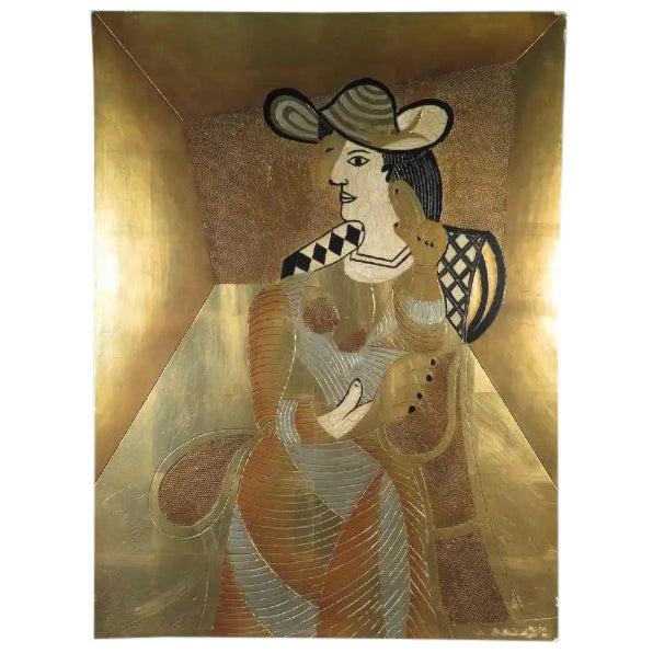 Gilded Cubist Woman Sculpture For Sale