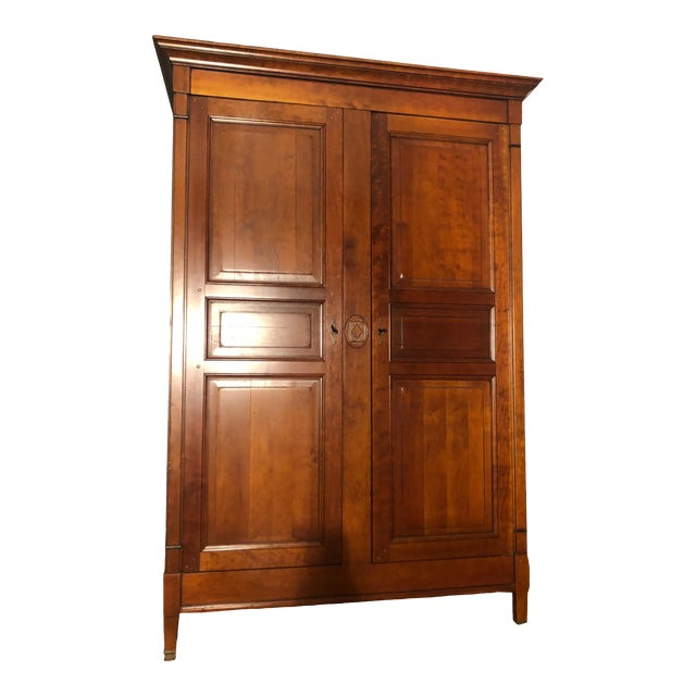 1980s Grange Directoire Distressed Fruitwood Clothing Armoire For Sale
