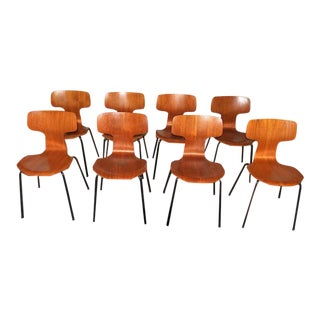 1960s Vintage Arne Jacobsen for Fritz Hansen Post Modern Chairs - Set of 8 For Sale