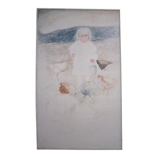 """1960s """"Girl With Chicks"""" Minimalist Figurative Oil Painting Signed Hasler, Framed For Sale"""