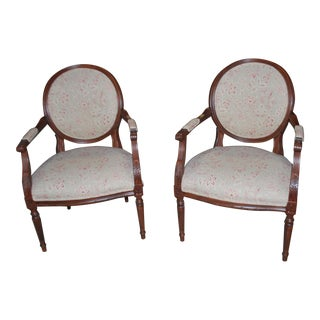 Ethan Allen French Carved Lounge Chairs- a Pair For Sale