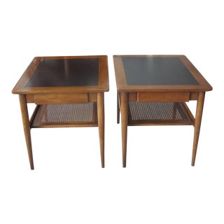 American of Martinsville Walnut With Caned Shelf Occasional Tables - a Pair For Sale