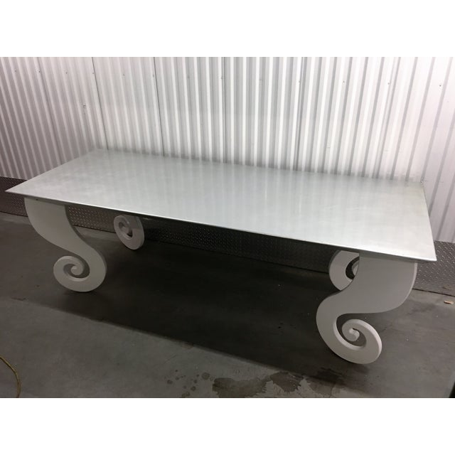 Silver Lacquer Pinwheel Legged Hall Table - Image 5 of 7