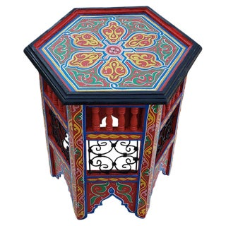 Moroccan Hexagonal Hand-Painted Wooden End Table For Sale