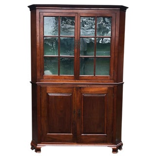 Mid 19th Century Antique Carved Walnut Country Corner Cabinet For Sale