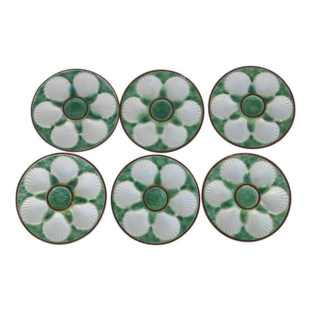 Majolica French Oyster Plates - Set of 6 - Image 1 of 5