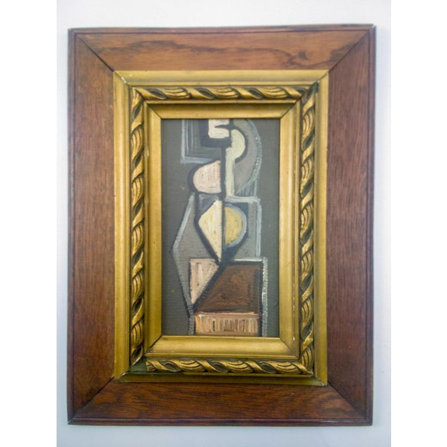 Wood Cubist Figure Portrait Painting For Sale - Image 7 of 7