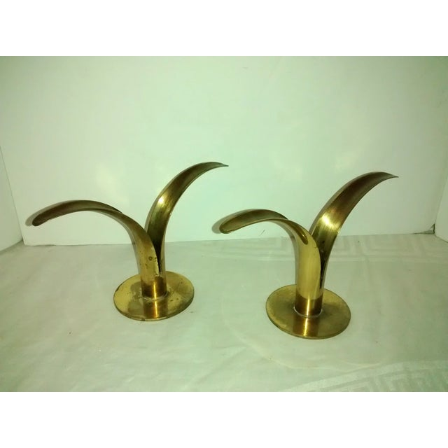 Mid-Century Brass Lily Candleholders - A Pair - Image 5 of 7